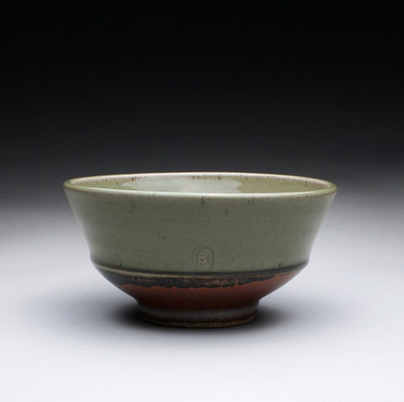 ceramic bowl, serving bowl, pottery bowl with green celadon and iron red glazes