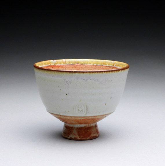 tea bowl - cup - yunomi with satin white and orange shino glazes