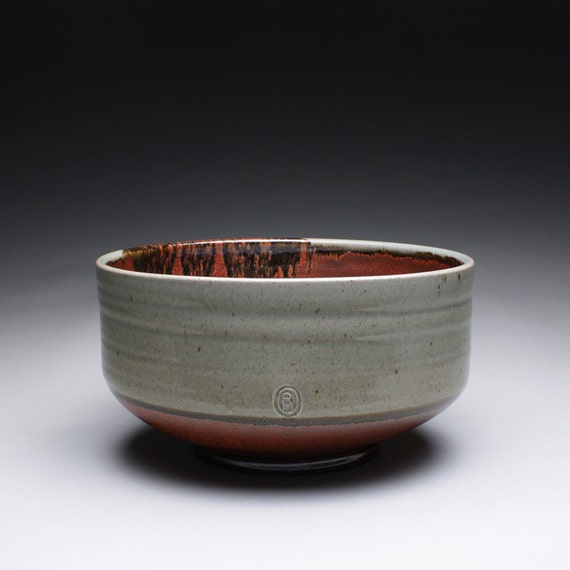 large serving bowl - pottery bowl with green celadon and iron maroon red glazes