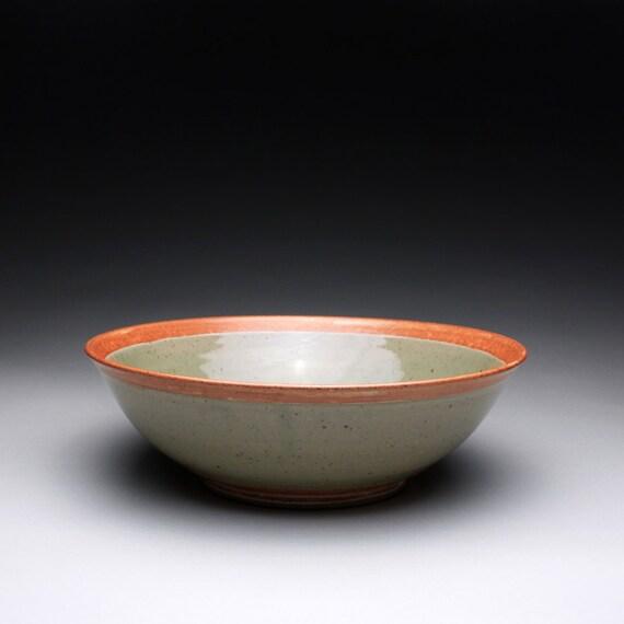 large serving bowl - ceramic bowl with green celadon and orange shino glazes