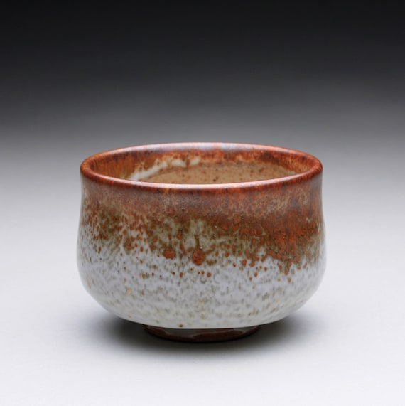 tea bowl - matcha chawan - pottery cup with layered shino glazes
