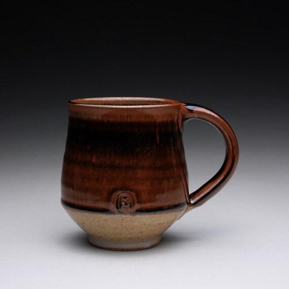 coffee mug - stoneware cup with brown black tenmoku and shino glazes