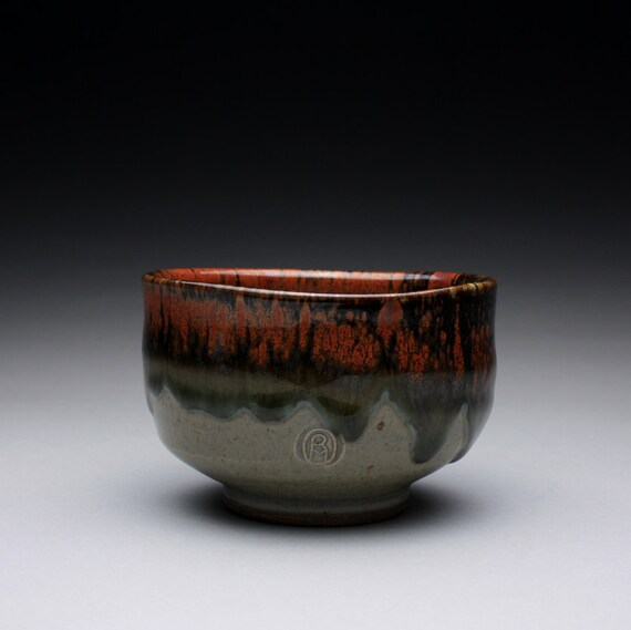 matcha chawan - tea bowl with green celadon and iron red glazes