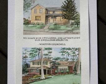 Dual House Watercolor Portrait