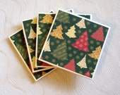 Holiday Tree Ceramic Tile Coasters Set of Four