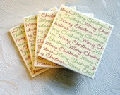 Red and Green Merry Christmas Ceramic Tile Coasters Set of Four