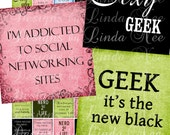 NEW- GEEK 4 Life (1 x 1 Inch) Images Buy 2 Get 1 Sale - Digital Collage Sheet scrapbooking printable stickers card ephemera