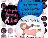 Instant Download - Cancer Survivor (1 Inch round) Images  SALE -Digital Collage Sheet printable stickers magnets button awareness survived