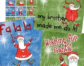 Wishing for SANTA Claus (.75 x .83 scrabble tile) inch Digital Collage Sheet Buy 2 Get 1 SALE christmas holiday presents printable stickers