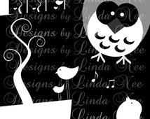 Instant Download - Birds and Owls Black and White (.875 x .875 Inch) Images Digital Collage Sheet printable magnet button sticker Owl Horse