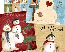 Instant Download - SNOWMAN Warm Winter Wishes (.75 x .83 inch scrabble tile inch) Images Digital Collage Sheet winter christmas printable