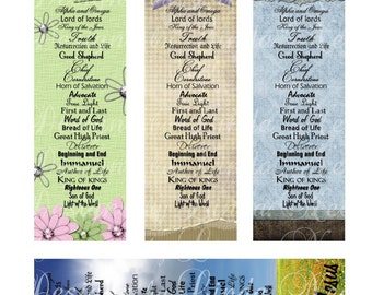 Names of jesus christian bookmarks digital collage sheet jesus truth