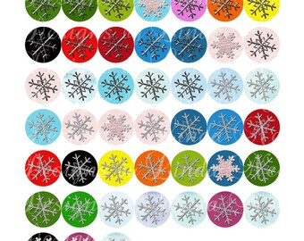 Whimsy Holiday SNOWFLAKES Glitter Brights (1 inch Round) Bottlecap Size  SALE Digital Collage Sheet winter stickers printable