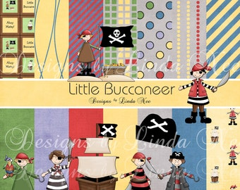 Little Buccaneer Pirate Paper Pack and Clip Art Set - Commercial Personal Use Printable Digital Scrapbooking Background