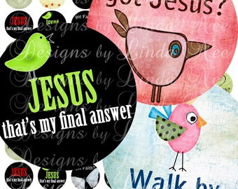 CHRISTian Quotes and Sayings- (20 mm round) Digital Collage Sheet printable sticker magnet button ~ Christian, Jesus, Scripture, Bible