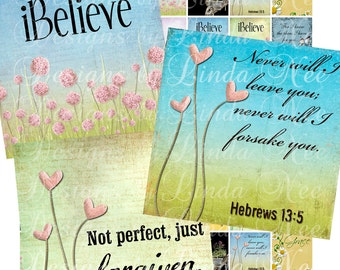 Instant Download - NEW - CHRISTian Scripture 4 (1 x 1 inch) Images Digital Collage Sheet  Sale printable stickers magnet button
