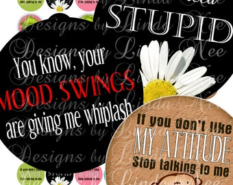 Instant Download - QUEEN of Sassy Quotes 1 (1 Inch Round) Bottlecap Images  Sale - Digital Collage Sheet printable stickers magnet button