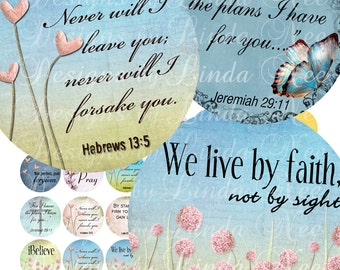 Instant Download - NEW - CHRISTian Scripture 4 (1.25 inch Round) Digital Collage Sheet  Sale printable stickers magnet button lord faith