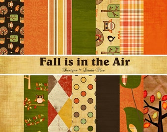 FALL is in the AIR Paper Pack - Commercial or Personal Use Printable Digital Scrapbooking Background Papers Stationary  Free