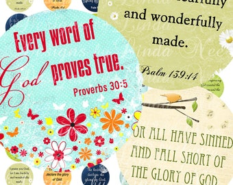 Instant Download - CHRISTian Scripture 3 (1 inch round) Images Digital Collage Sheet  printable stickers magnet button faith proverbs