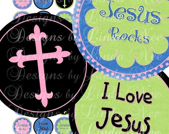 Instant Download - NEW - Summer CHRISTian Funky Tweens (1 inch Round) Bottlecap Digital Collage Sheet  Sale magnet printable stickers