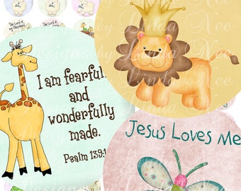 Instant Download - CHRISTian Kids (2 inch round) Images Digital Collage Sheet  printable stickers magnet button lord shepherd sheep