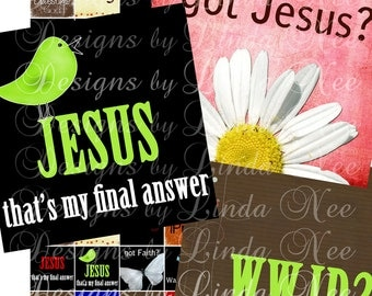CHRISTian Quotes and Sayings- (1.375 x 1.375 Inch) Digital Collage Sheet printable stickers card ephemera gift tag cross