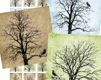 Instant Download - Birds of Peace on Trees (1 x 1 Inch) Altered Images Digital Collage Sheet printable sticker magnet button commercial use