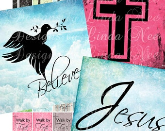 Instant Download - CHRISTian Images 1 (1 x 1 Inches) Digital Collage Sheet  Sale JESUS Truth christ dove cross sticker magnet button