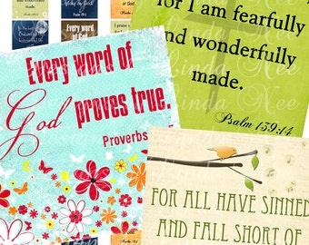 Instant Download - CHRISTian Scripture 3 (1 x 1 inch) Images Digital Collage Sheet  printable stickers magnet button