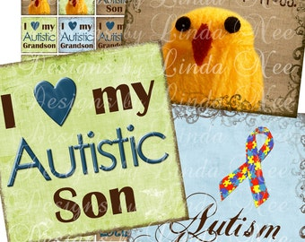 Instant Download - Autism Awareness (1 x 1 Inch) Images  SALE-Digital Collage Sheet sticker magnet button son mother