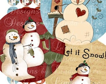 Instant Download - SNOWMAN Warm Winter Wishes (20 mm Round) Images Digital Collage Sheet  SALE snow winter tree christmas printable sticker