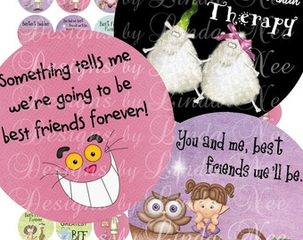ForEVeR FRienDs (1 Inch round) Images  SALE - Digital Collage Sheet heart humorous funny printable stickers magnets buttons