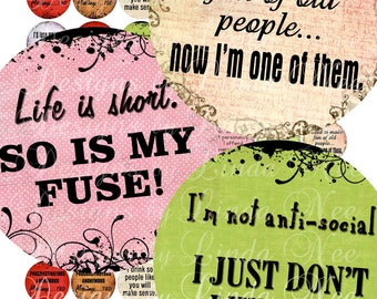 Instant Download - NEW- Say it Like it is Sassy Quotes (1 inch Round) Bottlecap Images  Sale - Digital Collage Sheet printable stickers