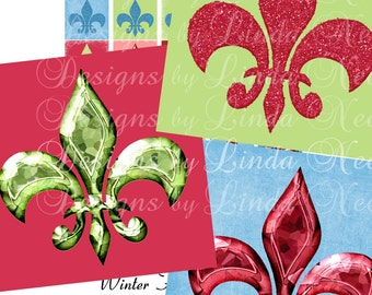 Instant Download - FLEUR DE LIS Lys Winter Colors (1 x 1 Inch) Images  - Digital Collage Sheet stickers magnets buttons college symbol