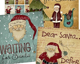 Waiting for SANTA (1.5 x 1.5 inch) Images Digital Collage Sheet  SALE winter christmas holiday presents printable stickers