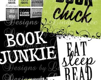 NEW- BOOK Junkie (.75 x .83 scrabble Inch) Images  Sale - Digital Collage Sheet scrapbooking printable stickers card ephemera