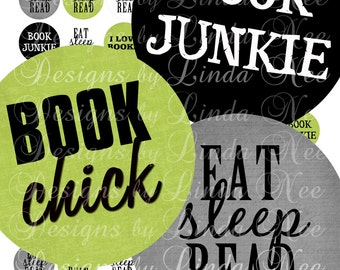 Instant Download - NEW- BOOK Junkie (1 Inch Round) Images  Sale - Digital Collage Sheet scrapbooking printable stickers card ephemera