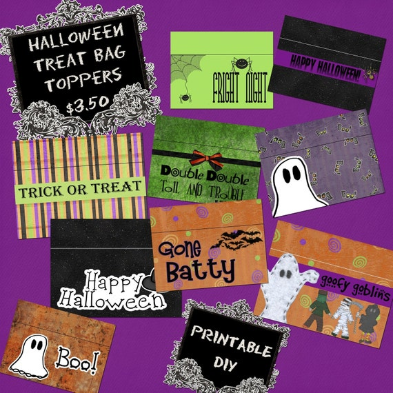 Halloween TREAT BAG Toppers Custom Digital Collage Sheet by Designs by ...
