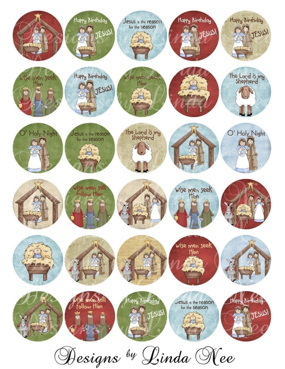 CHRISTmas Nativity JESUS is the REASON for the SEASON 1 inch Round bottlecap Images Digital Collage Sheet BUY -2 GET 1 FREE SALE- for glass or wood tiles by Designs by Linda Nee scrapbooking printable stickers card ephemera gift tag