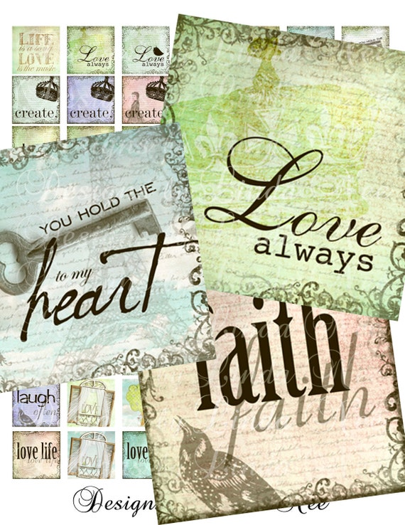 InspirAtiONal WoRds (1 x 1 Inch) Images Digital Collage Sheet printable stickers love life faith hope create