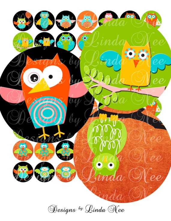 Instant Download - FuNKy OwLS (1 Inch Round) Bottlecap Images Digital Collage Sheet  SALE bird tree printable