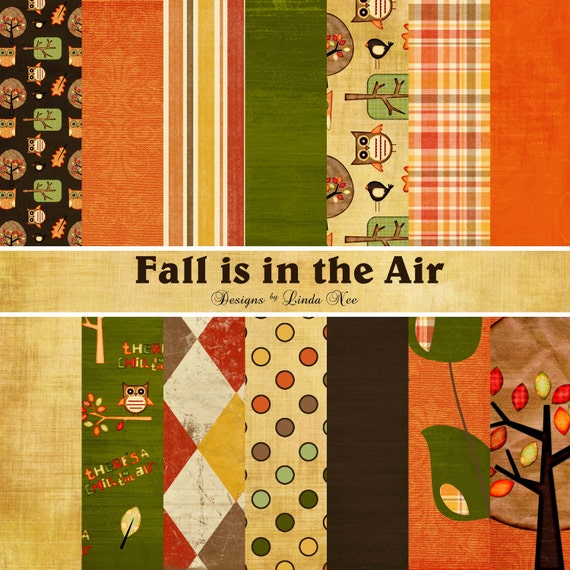 Fall is in the air paper pack commercial or personal use printable