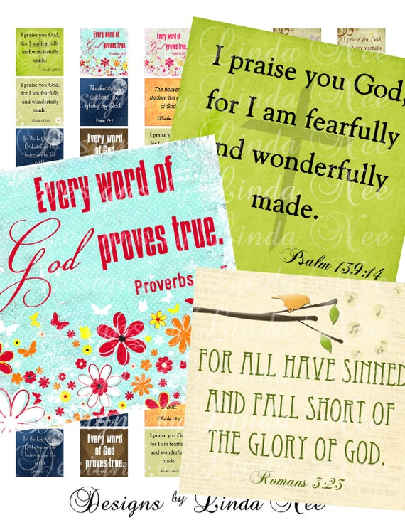 Instant Download - CHRISTian Scripture 3 (.875 x .875 inch) Images Digital Collage Sheet  printable stickers card ephemera gift tag
