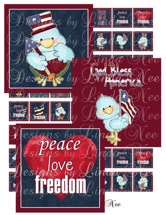 NEW- American Pride Fourth of July Patriotic Quotes (1 x 1 inch) square Images  Sale - Digital Collage Sheet printable stickers