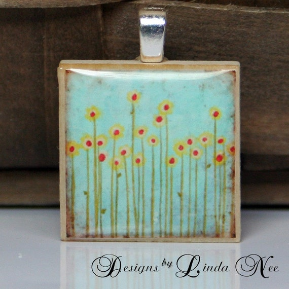 Yellow Flowers in the Meadow Wood Tile Pendant with Silver Plated Aanraku bail by Designs by Linda Nee designsbylindanee