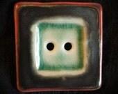 Ceramic Button: Tricolor Square Porcelain Button