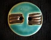 Ceramic Button: Turquoise and Metallic