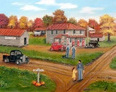 Cat Square Folk Art Print Old Store Cars Country Landscape Black Truck 1940s 1930s Autumn Pumpkin Man Yellow Dress by Arie Reinhardt Taylor