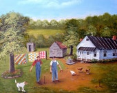 Folk Art Print Horseshoe Game White House Dog Chickens Quilts Outhouse Man Landscape Beagle Country Scene Arie Reinhardt Taylor